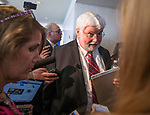 Florida Senator and candidate for governor, Jack Latvala, barks at a reporter after speaking at the Florida AP Legislative Day at the Florida Capitol Nov 2, 2017. (AP Photo/Mark Wallheiser)