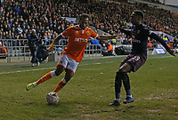 Blackpool's Nathan Delfouneso is tackled by Arsenal's Joe Willock<br /> <br /> Photographer Stephen White/CameraSport<br /> <br /> Emirates FA Cup Third Round - Blackpool v Arsenal - Saturday 5th January 2019 - Bloomfield Road - Blackpool<br />  <br /> World Copyright © 2019 CameraSport. All rights reserved. 43 Linden Ave. Countesthorpe. Leicester. England. LE8 5PG - Tel: +44 (0) 116 277 4147 - admin@camerasport.com - www.camerasport.com