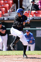 April 19, 2010:  Second Baseman Alex Cintron (12) of the Buffalo Bisons at bat during a game at Coca-Cola Field in Buffalo, New York.  The Bisons are the Triple-A International League affiliate of the New York Mets.  Photo By Mike Janes/Four Seam Images