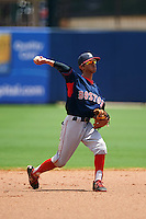 GCL Red Sox shortstop Yomar Valentin (46) throws to first during the second game of a doubleheader against the GCL Rays on August 4, 2015 at Charlotte Sports Park in Port Charlotte, Florida.  GCL Red Sox defeated the GCL Rays 2-1.  (Mike Janes/Four Seam Images)