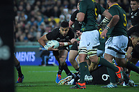 Rieko Ioane takes the ball up during the Rugby Championship rugby union match between the New Zealand All Blacks and South Africa Springboks at Westpac Stadium in Wellington, New Zealand on Saturday, 27 July 2019. Photo: Dave Lintott / lintottphoto.co.nz