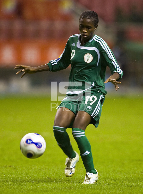 Nigeria defender (19) Lilian Cole. The United States (USA) defeated Nigeria (NGA) 1-0 during their Group B first round game at Hongkou Stadium in Shanghai, China on September 18, 2007.