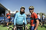 Vittorio Brumotti with Vincenzo Nibali (ITA) Bahrain-Merida at sign on before the start of Stage 1 The Nakheel Stage of the Dubai Tour 2018 the Dubai Tour&rsquo;s 5th edition, running 167km from Skydive Dubai to Palm Jumeirah, Dubai, United Arab Emirates. 6th February 2018.<br /> Picture: LaPresse/Fabio Ferrari | Cyclefile<br /> <br /> <br /> All photos usage must carry mandatory copyright credit (&copy; Cyclefile | LaPresse/Fabio Ferrari)