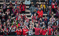 Seattle, Washington - Saturday May 14, 2016: Portland Thorns FC  fans cheer on their team  first half of a match at Memorial Stadium on Saturday May 14, 2016 in Seattle, Washington. The match ended in a 1-1 draw.