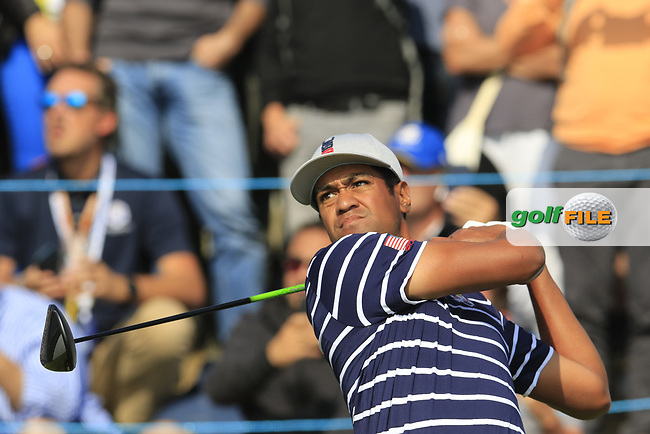 Tony Finau Team USA tees off the 17th tee during Friday's Fourball Matches at the 2018 Ryder Cup, Le Golf National, Iles-de-France, France. 28/09/2018.<br /> Picture Eoin Clarke / Golffile.ie<br /> <br /> All photo usage must carry mandatory copyright credit (© Golffile | Eoin Clarke)
