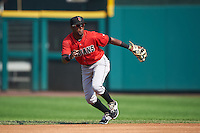 Indianapolis Indians second baseman Alen Hanson (13) fields a ground ball during a game against the Rochester Red Wings on June 10, 2015 at Frontier Field in Rochester, New York.  Indianapolis defeated Rochester 5-3.  (Mike Janes/Four Seam Images)