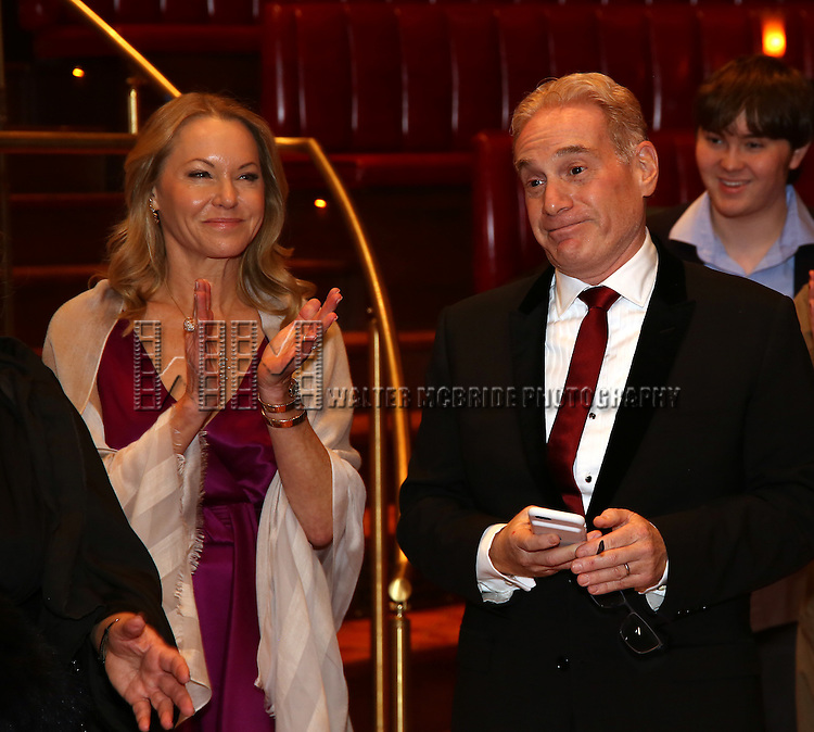 Janet Kagan and Howard Kagan during the Broadway Opening Night Actors' Equity Gypsy Robe Ceremony honoring Katrina Yaukey  for  'Natasha, Pierre & The Great Comet Of 1812' at The Imperial Theatre on November 14, 2016 in New York City.