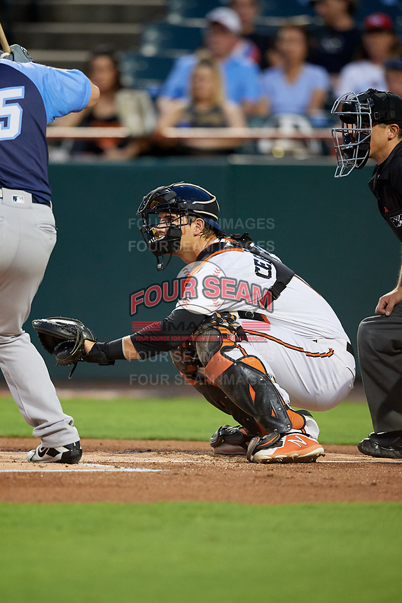 Bowie Baysox catcher Martin Cervenka (13) waits to receive a pitch in front of home plate umpire Derek Gonzales during the second game of a doubleheader against the Trenton Thunder on June 13, 2018 at Prince George's Stadium in Bowie, Maryland.  Bowie defeated Trenton 10-1.  (Mike Janes/Four Seam Images)