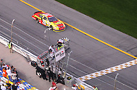 Feb 9, 2008; Daytona, FL, USA; ARCA RE/MAX Series driver Michael Annett (28) takes the checkered flag to win the ARCA 200 at Daytona International Speedway. Mandatory Credit: Mark J. Rebilas-US PRESSWIRE