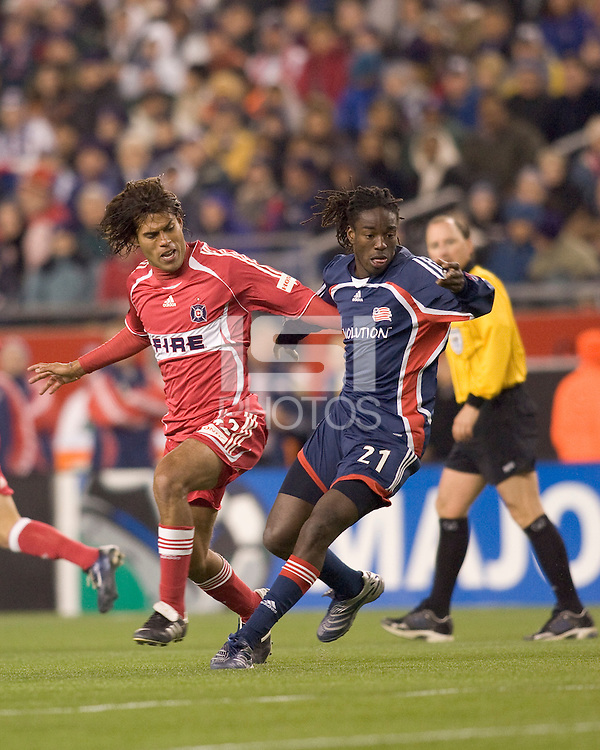 New England Revolution midfielder Shalrie Joseph (21). The New England Revolution defeated the Chicago Fire 1-0 in the MLS Eastern Conference Championship game at Gillette Stadium in Foxborough, MA on November 8, 2007.