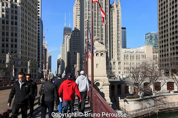 Amérique; Etats Unis; état de l'Illinois; Chicago;pont Michigan Avenue (pont DuSable)//America; United States; Illinois state; Chicago; Michigan Avenue bridge (DuSable bridge)