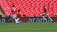 first goal scored for Salford City by Mani Dieseruvwe of Salford City celebrates during AFC Fylde vs Salford City, Vanarama National League Play-Off Final Football at Wembley Stadium on 11th May 2019
