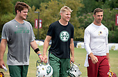 New York Jets and Washington Redskins quarterbacks come off the field together after participating in a joint training camp practice with the Washington Redskins at the Washington Redskins Bon Secours Training Facility in Richmond, Virginia on Tuesday, August 14, 2018.  From left to right: New York Jets quarterback Sam Darnold (14), New York Jets quarterback Josh McCown (15), and Washington Redskins quarterback Alex Smith (11).<br /> Credit: Ron Sachs / CNP<br /> (RESTRICTION: NO New York or New Jersey Newspapers or newspapers within a 75 mile radius of New York City)