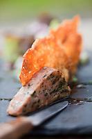 Europe/France/Auverne/63/Puy-de-Dôme/Chambon-sur-Lac/Chambon des Neiges:Pounti en mille-feuille au cantal recette de l' Auberge: Aux 500 Diables