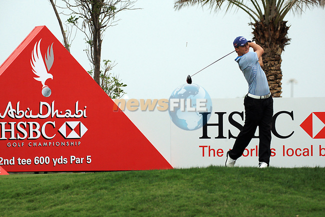 Alexander Noren teeing  off on the second on day one of the Abu Dhabi HSBC Golf Championship 2011, at the Abu Dhabi golf club 20/1/11..Picture Fran Caffrey/www.golffile.ie.