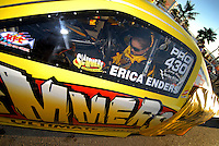 Apr 7, 2006; Las Vegas, NV, USA; NHRA Pro Stock racer Erica Enders prior to qualifying her Slammers Ultimate Milk Chevrolet Cobalt at the Summitracing.com Nationals at Las Vegas Motor Speedway in Las Vegas, NV. Mandatory Credit: Mark J. Rebilas