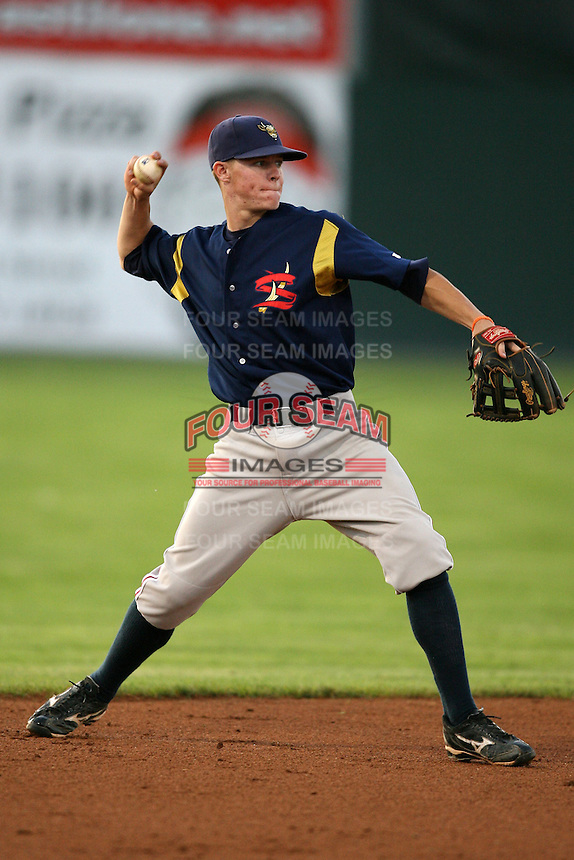 September 1, 2009:  Shortstop Brock Holt of the State College Spikes during a game at Frontier Field in Rochester, NY.  State College is the NY-Penn League affiliate of the Pittsburgh Pirates.  Photo By Mike Janes/Four Seam Images