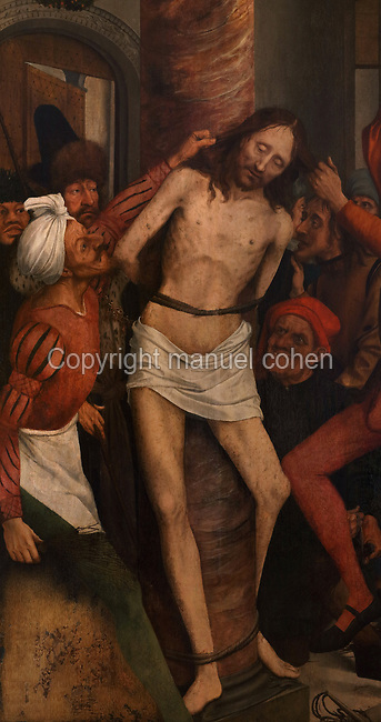 Flagellation, from a Triptych of the Virgin of the Calvary, 1514-17, by Quentin Metsys, 1466-1530, originally for the Mosteiro de Santa Clara, in the Museu Nacional de Machado de Castro, Coimbra, Portugal. The triptych was commissioned by King Dom Manuel I, 1469-1521. The museum was opened in 1913 and renovated 2004-2012. The city of Coimbra dates back to Roman times and was the capital of Portugal from 1131 to 1255. Its historic buildings are listed as a UNESCO World Heritage Site. Picture by Manuel Cohen