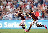 Calcio, Serie A: Roma vs Juventus. Roma, stadio Olimpico, 30 agosto 2015.<br /> Roma&rsquo;s Miralem Pjanic, left, celebrates with teammate Radja Nainggolan after scoring during the Italian Serie A football match between Roma and Juventus at Rome's Olympic stadium, 30 August 2015.<br /> UPDATE IMAGES PRESS/Riccardo De Luca