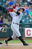 Omaha Storm Chasers outfielder David Lough #3 swings during the Pacific Coast League baseball game against the Round Rock Express on July 22, 2012 at the Dell Diamond in Round Rock, Texas. The Express defeated the Chasers 8-7 in 11 innings. (Andrew Woolley/Four Seam Images).