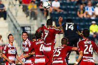 Amobi Okugo (14) of the Philadelphia Union scores off a header. The Philadelphia Union and FC Dallas played to a 2-2 tie during a Major League Soccer (MLS) match at PPL Park in Chester, PA, on June 29, 2013.