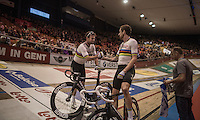 Madison World Champions Sir Bradley Wiggins (GBR/Wiggins) &amp; Mark Cavendish (GBR/Dimension Data) just won the elimination race<br /> <br /> 2016 Gent 6<br /> day 4