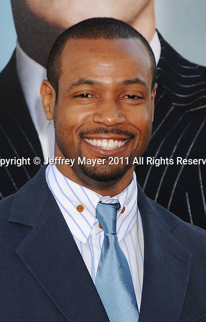 """HOLLYWOOD, CA - JUNE 30: Isaiah Mustafa arrives at the """"Horrible Bosses"""" Los Angeles premiere at Grauman's Chinese Theatre on June 30, 2011 in Hollywood, California."""