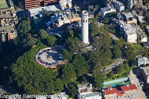 aerial photograph Coit Tower Telegraph Hill San Francisco California