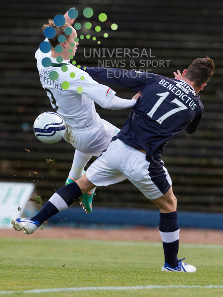 Dundee v Hibernian  SPL season 2012-2013 ..Kyle Benedictus up ends Leigh Griffiths during the Clydesdale Bank Premier League match between Dundee and Hibernian at Dens Park Stadium on 17th November 2012..Picture: Alan Rennie/Universal News and Sport (Scotland)..