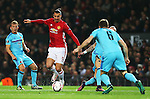 Zlatan Ibrahimovic of Manchester United takes on Jan-Arie van der Heijden of Feyenoord during the UEFA Europa League match at Old Trafford, Manchester. Picture date: November 24th 2016. Pic Matt McNulty/Sportimage