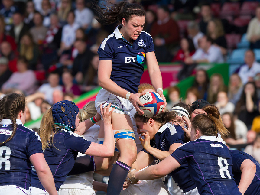 Deb McCormack in a lineout, England Women v Scotland Women in a 6 Nations match at Twickenham Stoop, London, England, on 11th March 2017 Final Score 64-0