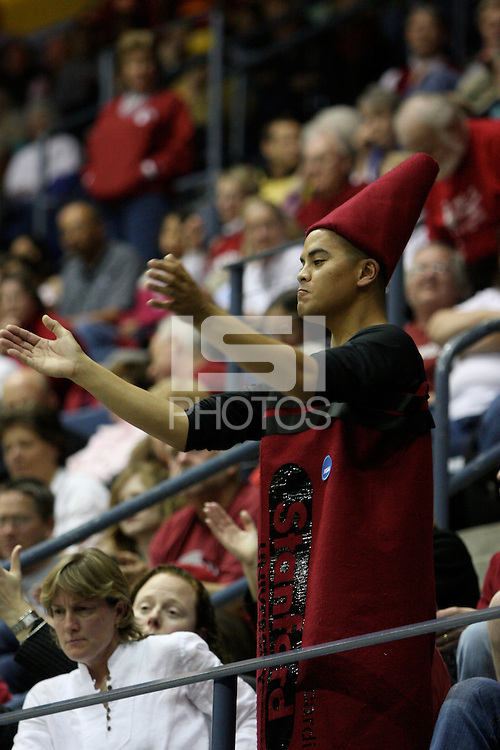 BERKELEY, CA - MARCH 30: A dedicated fan, the Cardinal crayon cheers during Stanford's 74-53 win against the Iowa State Cyclones on March 30, 2009 at Haas Pavilion in Berkeley, California.