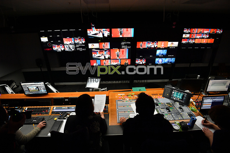 Picture by Simon Wilkinson/SWpix.com - 28/01/2019 - RLWC 2021 Rugby League World Cup Host City Reveal BBC Match of the Day Studio - Dock 10 Media City Salford<br /> - TV studio and production gallery Kevin Sinfield, Jon Dutton , James Simpson Jodie Cunningham