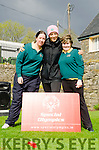WEST MUNSTER SPECIAL OLYMPICS:  TV's Kathryn Thomas launches the opening round in qualification for the next Special Olympics, with participants Kelly Anne Murphy (left) and Fiona Riney (right).