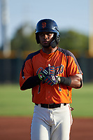 AZL Giants Orange Andrew Caraballo (1) retreats to first base after getting a hit during an Arizona League game against the AZL Mariners on July 18, 2019 at the Giants Baseball Complex in Scottsdale, Arizona. The AZL Giants Orange defeated the AZL Mariners 7-4. (Zachary Lucy/Four Seam Images)