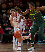 STANFORD, CA - February 26, 2011:  Jeanette Pohlen grabs a loose ball in Stanford's 99-60 victory over Oregon at Stanford, California on February 26, 2011.