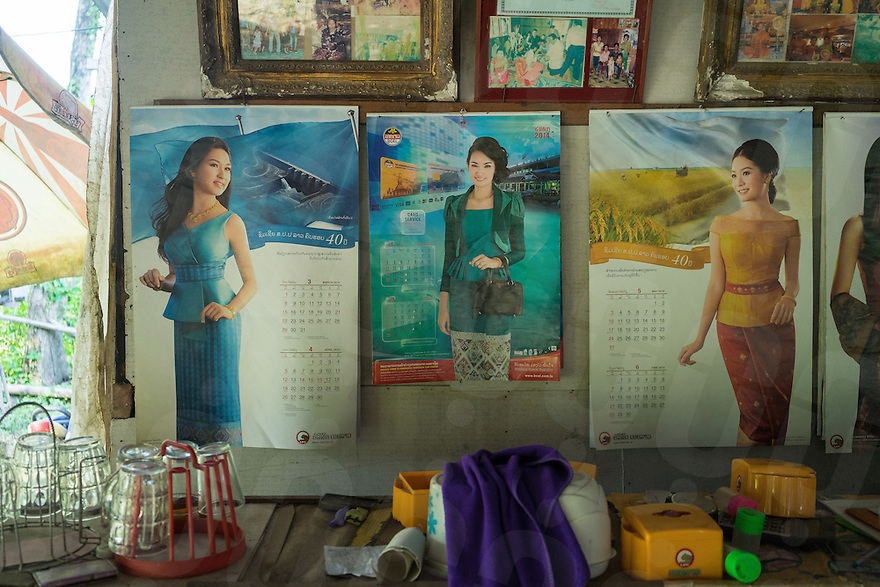 August 27, 2015 - Don Khon (Laos).  A poster showing an Hydroelectric project is seen inside the house of a local fisherman. Experts say that the Don Sahong's dam will put at risk the ecological integrity of the Lower Mekong as a whole. In particular, it will have a severe impact on the endangered giant catfish, other fish species — some of them unique to the Mekong — and the Irrwaddy dolphin, which has found a natural habitat just two kilometers from the dam and is already critically endangered. © Thomas Cristofoletti / Ruom