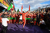 25th March 2018, Melbourne Grand Prix Circuit, Melbourne, Australia; Melbourne Formula One Grand Prix, race day; Sebastian Vettel (Germany) of Ferrari celebrates his 2018 Australian Grand Prix win in parc ferme with his technical team