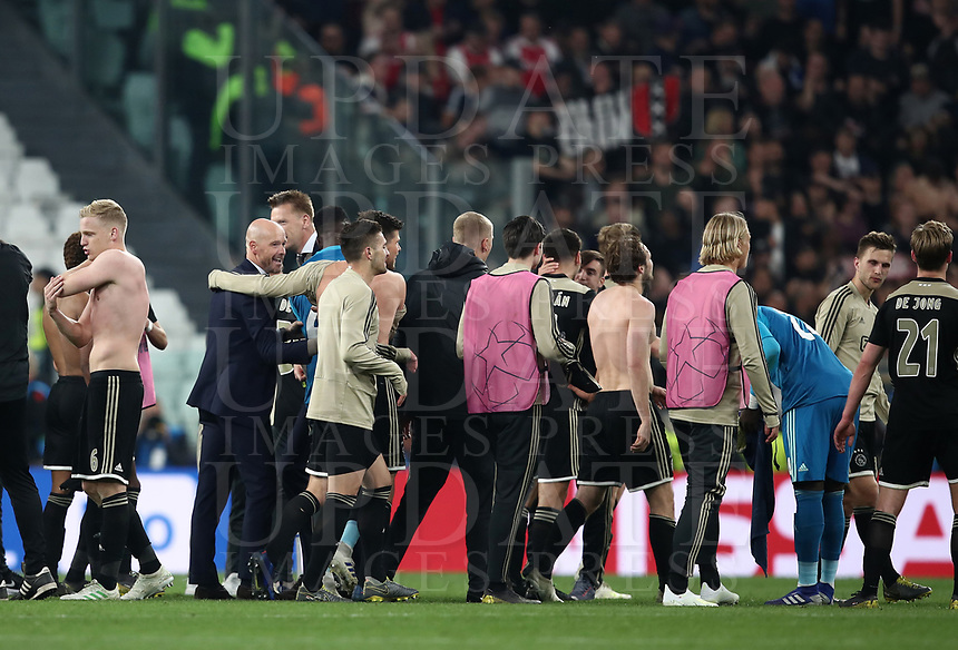 Football Soccer: UEFA Champions UEFA Champions League quarter final second leg Juventus - Ajax, Allianz Stadium, Turin, Italy, March 12, 2019. <br /> Ajax's players and coach Erik Ten Hag (second from left) celebrate after winning 2-1 the Uefa Champions League quarter final second leg against Juventus at the Allianz Stadium, on March 12, 2019.<br /> UPDATE IMAGES PRESS/Isabella Bonotto