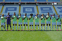 20190301 - LARNACA , CYPRUS : Rita Chikwelu , Chiamaka Nnadozie , Osinachi Ohale , Ngozi Ebere , Josephine Chukwunonye , Sonia Okobi , Faith Ikidi Michael , Francisca Ordega , Ini-Abasi Umotong , Alice Ogebe , Cecilia Nku (Team Nigeria) pictured during a women's soccer game between Slovakia and Nigeria , on Friday 1 March 2019 at the Antonis Papadopoulos Stadium in Larnaca , Cyprus . This is the second game in group C for both teams during the Cyprus Womens Cup 2019 , a prestigious women soccer tournament as a preparation on the Uefa Women's Euro 2021 qualification duels and FIFA Women's World Cup 2019 in France . PHOTO SPORTPIX.BE | STIJN AUDOOREN