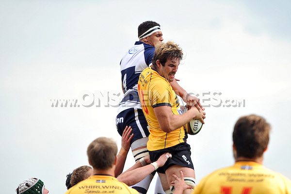 Will Carrick-Smith wins the ball at a lineout. Greene King IPA Championship match, between Bristol Rugby and Cornish Pirates on September 21, 2014 at Ashton Gate in Bristol, England. Photo by: Patrick Khachfe / JMP