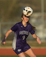 NWA Democrat-Gazette/BEN GOFF @NWABENGOFF<br /> Abby Estes of Fayetteville heads the ball Tuesday, March 13, 2018, during the match against Bentonville at Bentonville's Tiger Athletic Complex.