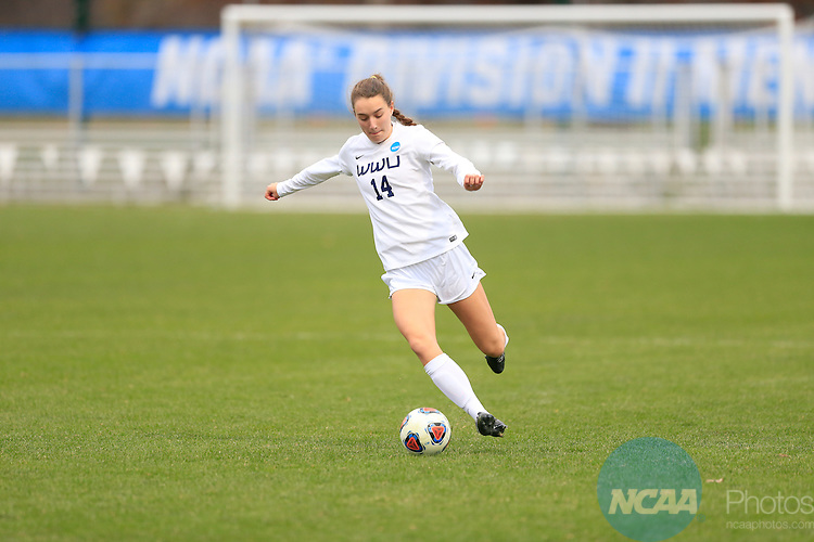 KANSAS CITY, MO - DECEMBER 03:  Annaliese Laurila (14) of Western Washington University kicks the ball against Grand Valley State University during the Division II Women's Soccer Championship held at Children's Mercy Victory Field at Swope Soccer Village on December 03, 2016 in Kansas City, Missouri. Western Washington University beat Grand Valley State University 3-2 to win the national title.  (Photo by Jack Dempsey/NCAA Photos via Getty Images)