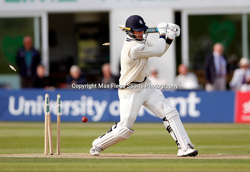 Grant Stewart of Kent is clean bowled during the Specsavers County Championship Div 2 game between Kent and Sussex at the St Lawrence Ground, Canterbury, on May 11, 2018