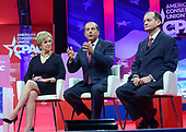United States Secretary of Health and Human Services (HHS) Alex Azar, center, speaks at the Conservative Political Action Conference (CPAC) at the Gaylord National Resort and Convention Center in National Harbor, Maryland on Thursday, February 28, 2019. Looking on from left is Administrator of the Small Business Administration Linda E. McMahon and from right is US Secretary of Labor Alex Acosta<br /> Credit: Ron Sachs / CNP