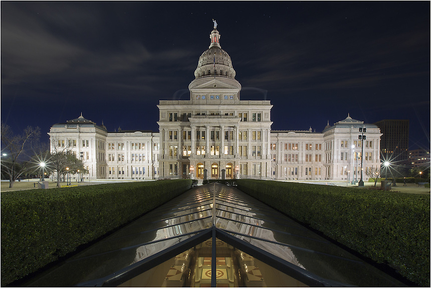 I arrived early to photograph the State Capitol building in Austin, Texas, from the north lawn looking south. Soft clouds were lit overhead by moonlight and the early morning hours proved great for what I had in mind.