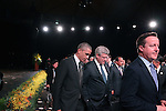 A Call to Country United States' President Barack Obama Canada's Prime Minister Stephen Harper and United Kingdom's Prime Minister David Cameron leaving after the performance at the G20 Leaders' Summit in Brisbane. <br /> Photograph by Steve Christo/G20 Australia