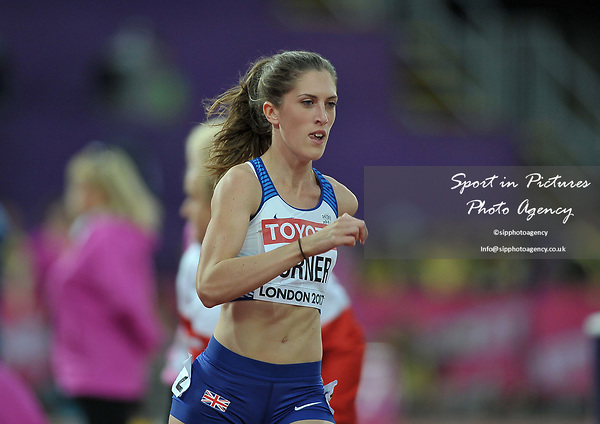 Jessica TURNER (GBR) in the womens 400m hurdles heats. IAAF world athletics championships. London Olympic stadium. Queen Elizabeth Olympic park. Stratford. London. UK. 07/08/2017. ~ MANDATORY CREDIT Garry Bowden/SIPPA - NO UNAUTHORISED USE - +44 7837 394578