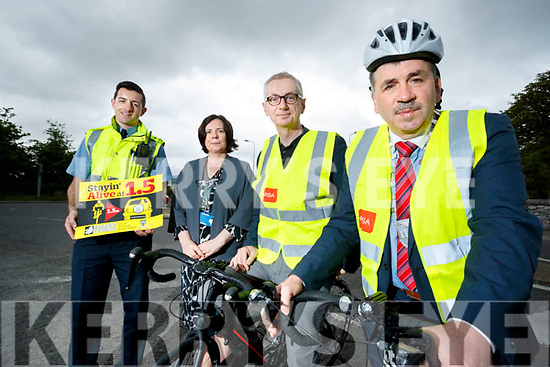 Garda Aidan O'Mahony, CEO of Kerry County Council Moira Murrell, Colin Clacy, Editor Kerry's Eye and Mayor of Kerry, Michael O'Shea, pictured at the launch of the Stayin' Alive at 1.5 campaign.