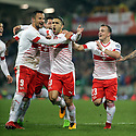 BELFAST, NORTHERN IRELAND - Nov 09: Switzerland's Ricardo Rodriguez celebrates after taking the penality kick scoring a goal against Northern Ireland's during the 2018 FIFA World Cup play-offs first leg soccer match at Windsor Park, in Belfast, Northern Ireland November 9, 2017. Photo/Paul McErlane
